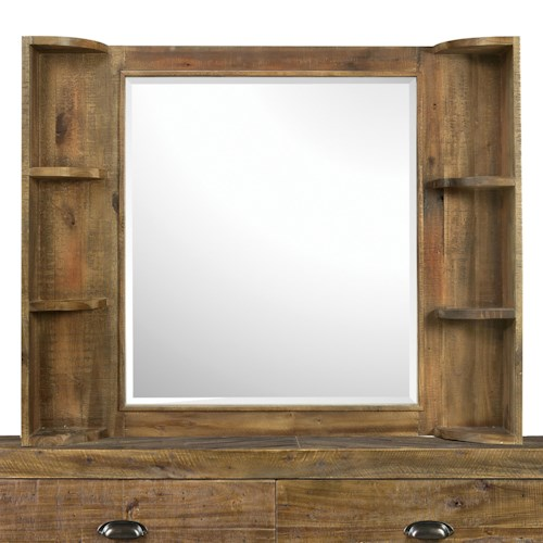 Next Generation by Magnussen Braxton Casual Rustic Landscape Mirror with Six Vanity Shelves
