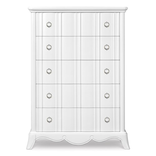 Next Generation by Magnussen Gabrielle Youth Five Drawer Chest with Shaped Front and Faux Diamond Hardware