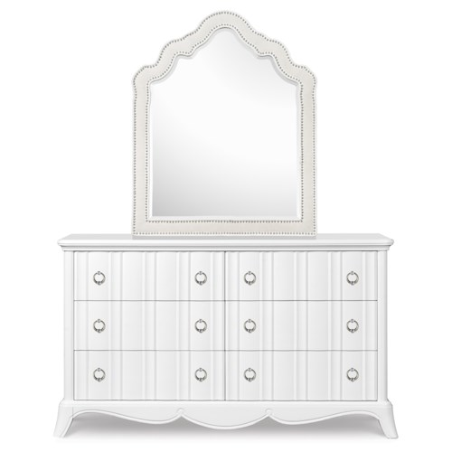 Next Generation by Magnussen Gabrielle Youth Six Drawer Dresser and Shaped Mirror with Upholstered Frame and Nail Head Trim