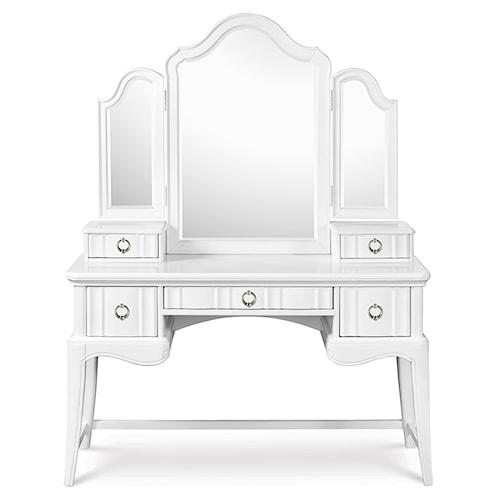 Next Generation by Magnussen Gabrielle Youth Three Drawer Desk with Vanity Tri-Fold Storage Mirror