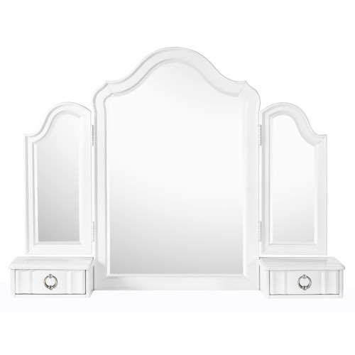 Next Generation by Magnussen Gabrielle Youth Tri-Fold Vanity Mirror with 2 Drawers and Faux Diamond Accent Hardware