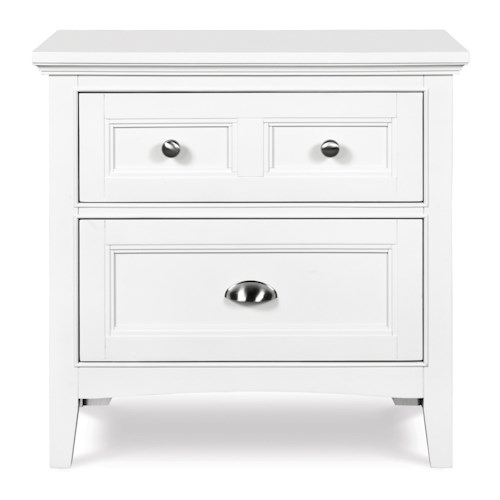 Next Generation by Magnussen Hayden White Two-Drawer Nightstand with Touch Lighting and Charging Station