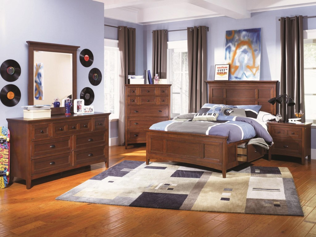 Shown with Portrait Mirror, Drawer Chest, Storage Panel Bed & Drawer Dresser