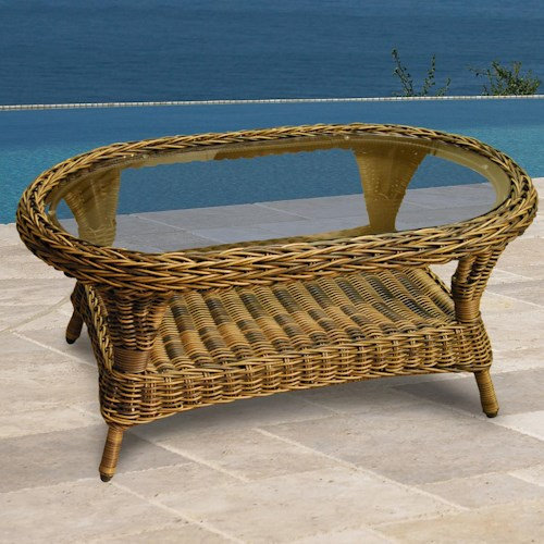 NorthCape International Berkshire Oval Coffee Table w/ Glass Top