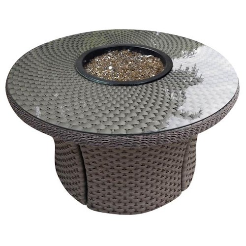 NorthCape International Cabo Standard Weave Woven Fire Table w/ Glass Top