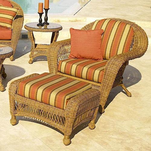 NorthCape International Charleston Outdoor Wicker Chair w/ Ottoman