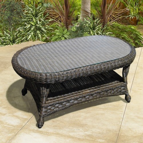 NorthCape International Georgetown NC Outdoor Coffee Table with Glass Top