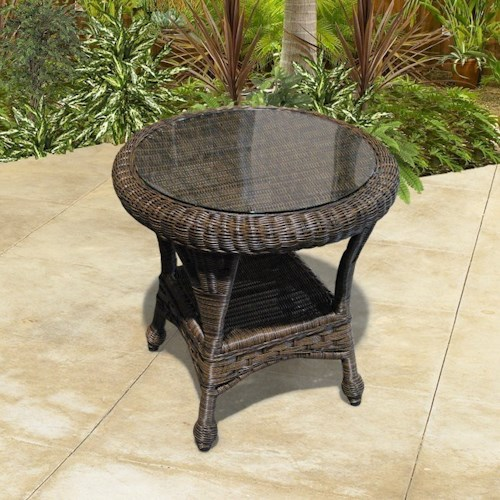 NorthCape International Georgetown NC Outdoor End Table with Glass Top