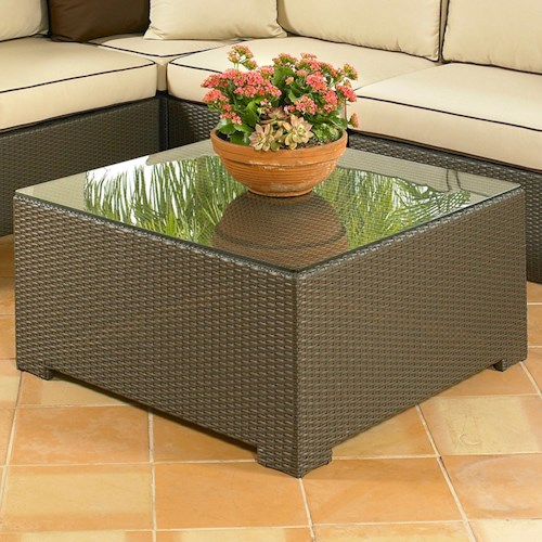 NorthCape International Malibu Large Square Coffee Table w/ Glass Top