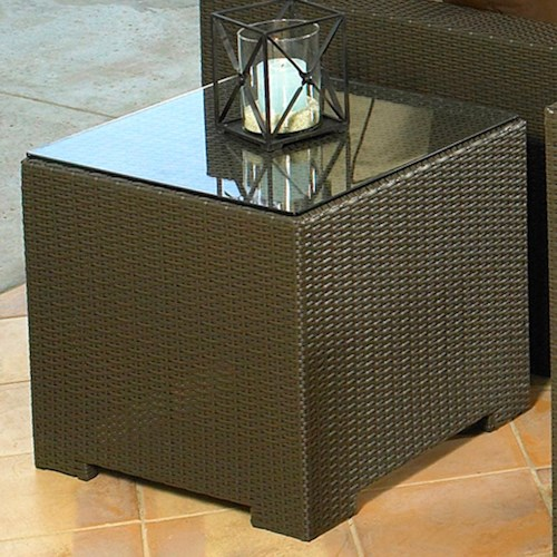 NorthCape International Malibu Square End Table w/ Glass Top