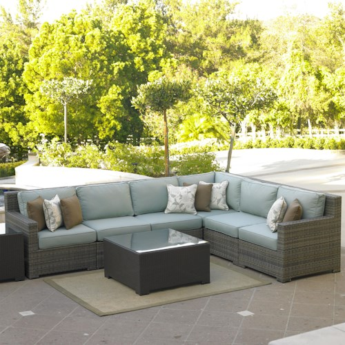NorthCape International Malibu Right Arm Facing Six Piece Outdoor Sectional
