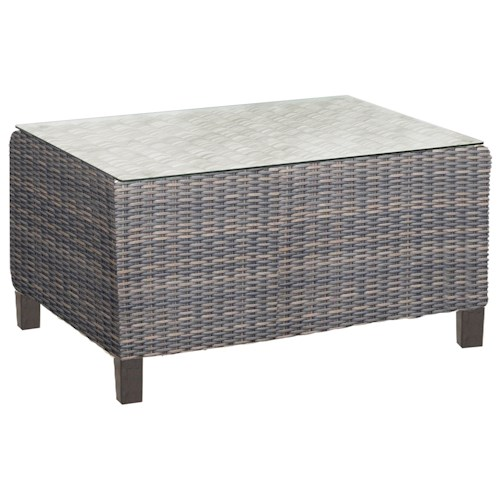 NorthCape International San Marino Woven Rectangular Outdoor Coffee Table with Glass Top