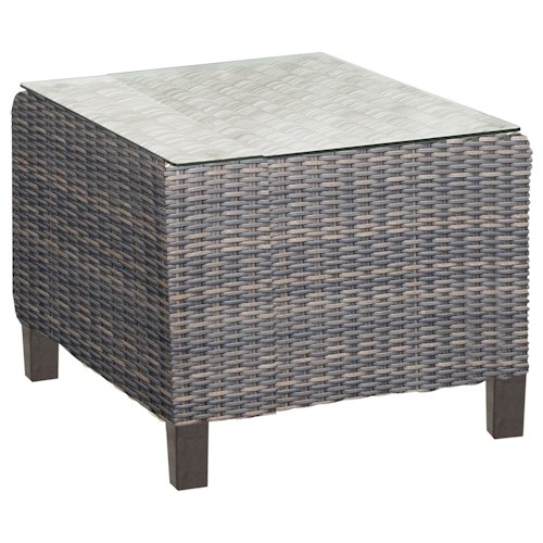 NorthCape International San Marino Woven Square End Table with Glass Top