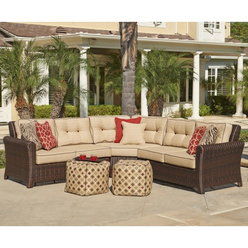 NorthCape International Tisdale Wicker Outdoor Corner Sectional w/ Toss Pillows