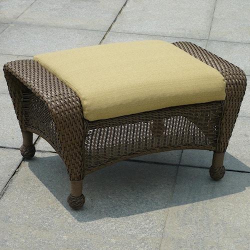 NorthCape International Winward Cocoa Woven Outdoor Ottoman w/ Cushion