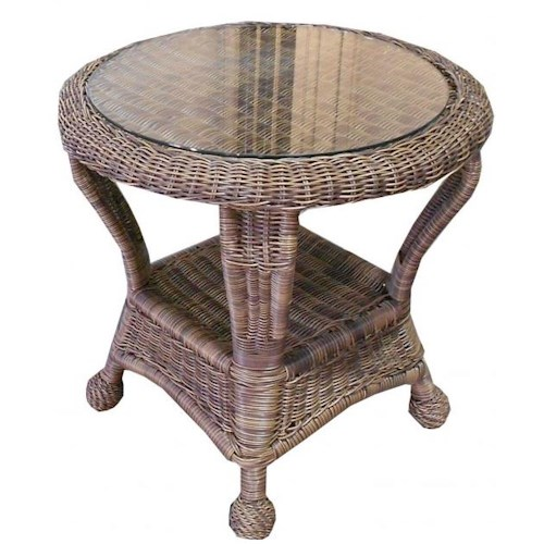 NorthCape International Wyndham Casual End Table with Round Top and Wicker Shelf