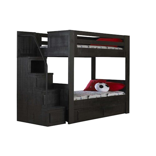 Morris Home Furnishings Frisco Twin Bunk Bed with Stairs