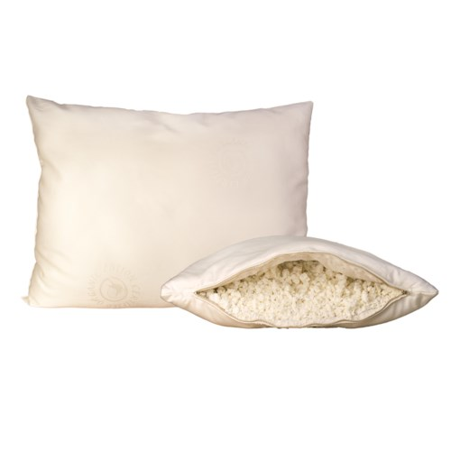 Organic Mattresses, Inc. (OMI) Shredded Latex Pillows Queen Certified Organic Wool-Wrapped Natural Shredded Latex Rubber Pillow