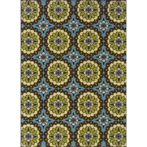 Oriental Weavers Casper 5.3 x 7.6 Area Rug : Blue/Lime