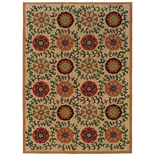 Oriental Weavers Inkus Floral 5.3 x 7.6 Area Rug : Beige