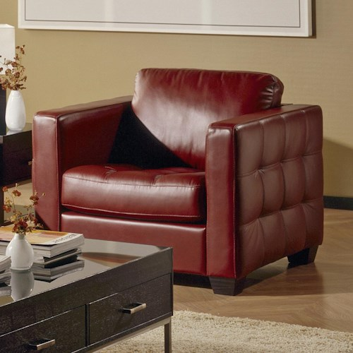Palliser Barrett  Contemporary Upholstered Chair with Square Decorative Tufting