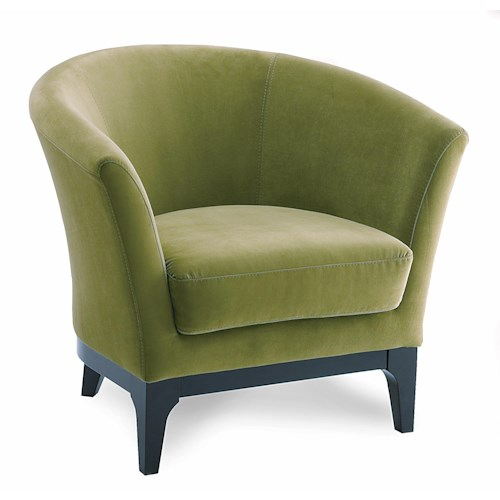Palliser Bridgeport Contemporary Barrel-Backed Accent Chair with Tapered Block Legs