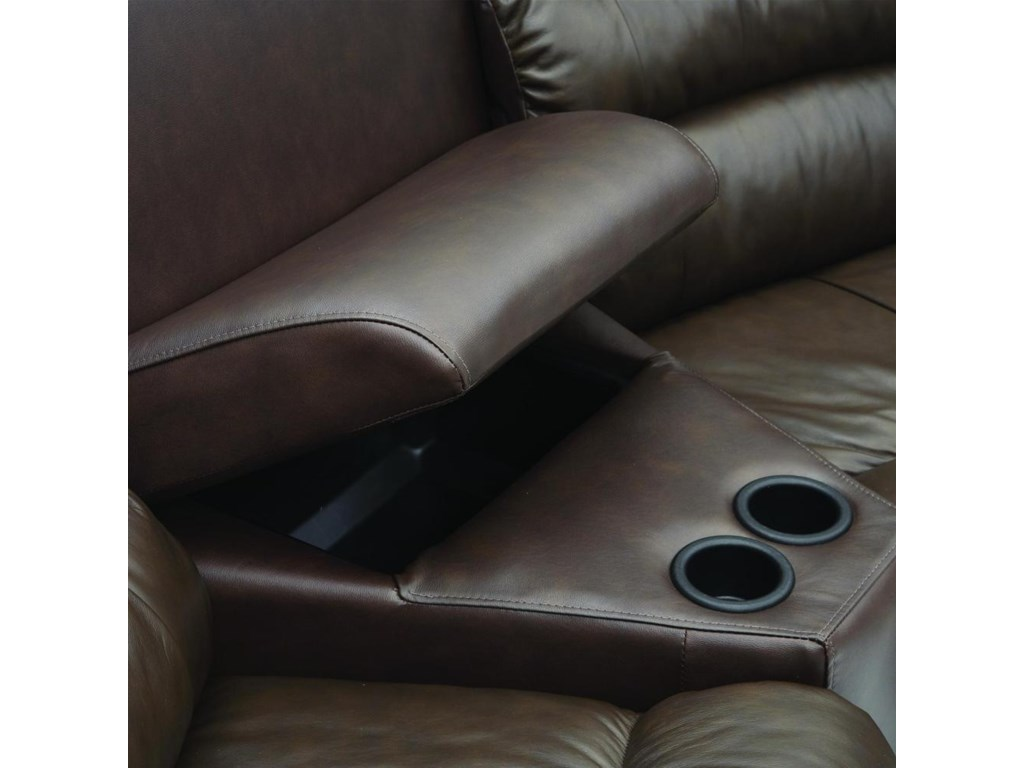 The Home Theater Wedges features built in cup holders and storage areas