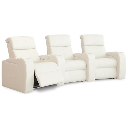 Palliser Flicks Contemporary Home Theater Sectional with Power Headrests and LED Cup Holders