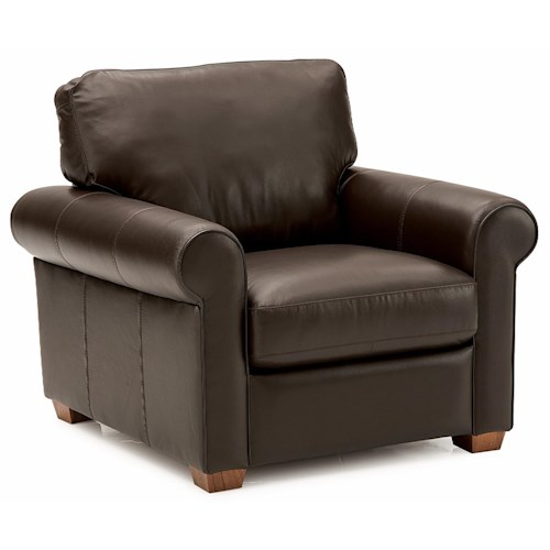 Palliser Magnum Transitional Upholstered Chair with Sock Arms and Wood Feet