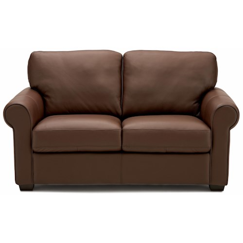 Palliser Magnum Transitional Loveseat with Sock Arms and Wood Feet