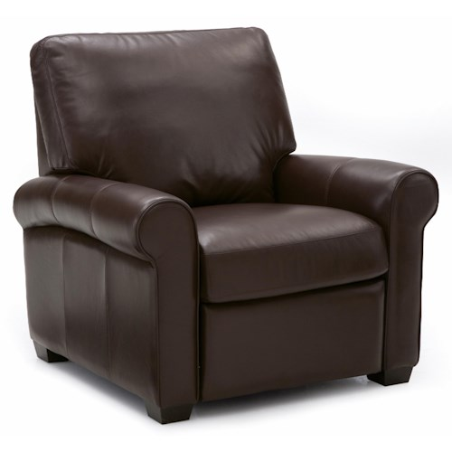 Palliser Magnum Transitional Pushback Chair with Sock Arms and Wood Feet