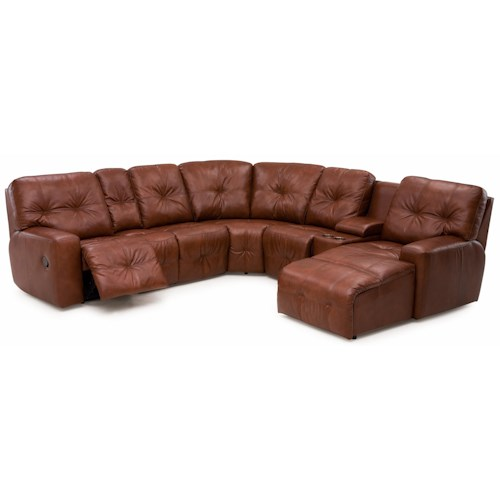 Palliser Mystique Transitional Reclining Sectional Sofa with Drop-Down Table and Cupholder Console
