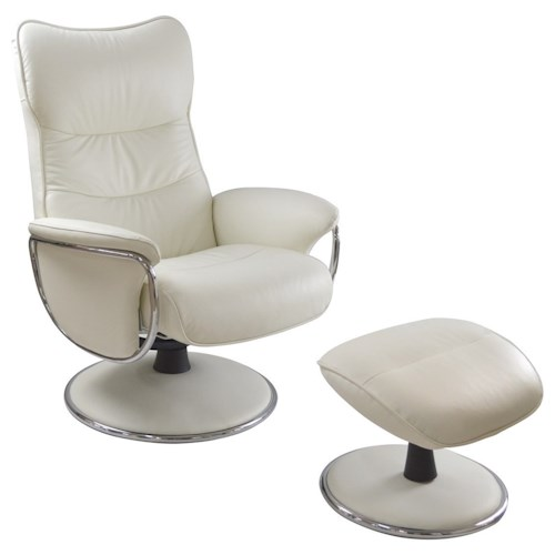 Palliser Quantum Contemporary Reclining Chair and Ottoman with Chrome Accents
