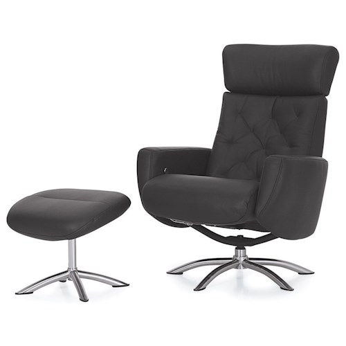 Palliser Quantum Contemporary Reclining Chair and Ottoman with Chrome Bases