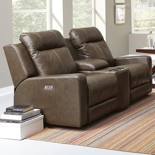 Palliser Redwood Casual Power Reclining Console Loveseat with Cup Holders