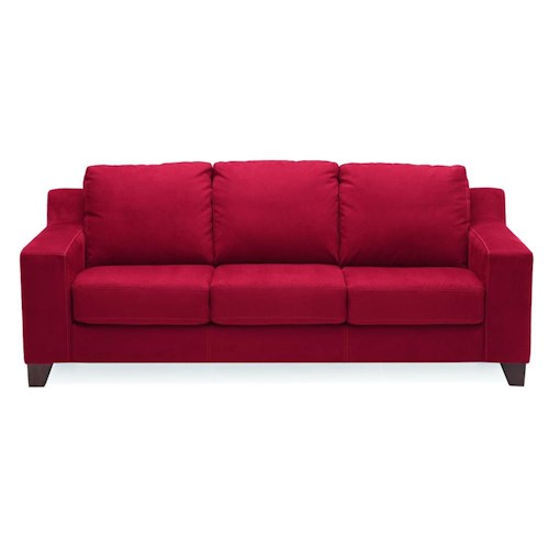 Palliser Reed Contemporary Stationary Sofa with Thick Track Arms