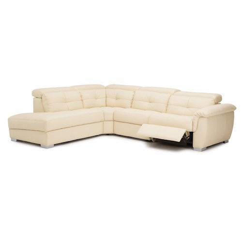 Palliser Tikki Transitional Reclining Sectional Sofa with Retractable Headrests and RHF Nest