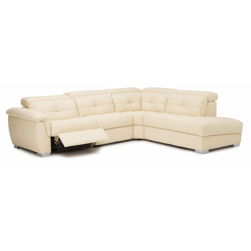 Palliser Tikki Transitional Reclining Sectional Sofa with Retractable Headrests and LHF Nest
