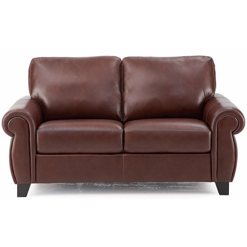 Palliser Willowbrook Love Seat with Rolled Arms and Tapered Wood Legs