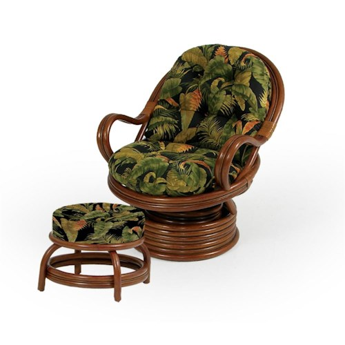 Palm Springs Rattan Islamorada Swivel Rocker Chair and Round Ottoman
