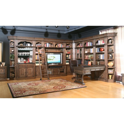 Parker House Aria Library Complete Wall Unit with Mirror-Backed Bar and Peninsula Desk