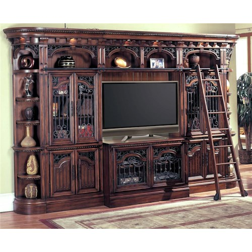 Parker House Barcelona Entertainment Center Wall Unit with Glass Doors