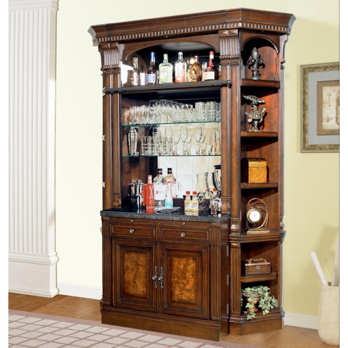 Parker House Corsica Bar Base and Hutch with Corner Shelves