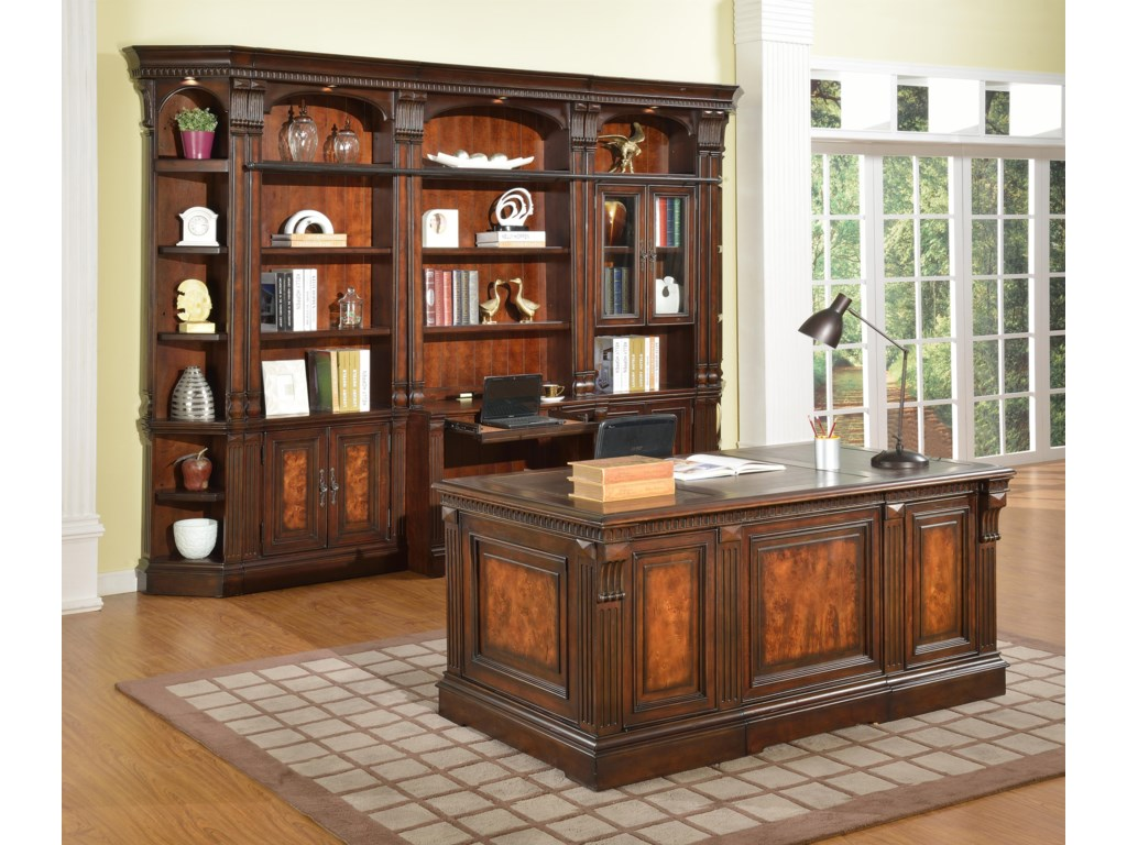 Shown with Outside Corner, 32-Inch Open Top Bookcase, 2-Piece Library Desk and 32-Inch Glass Door Cabinet