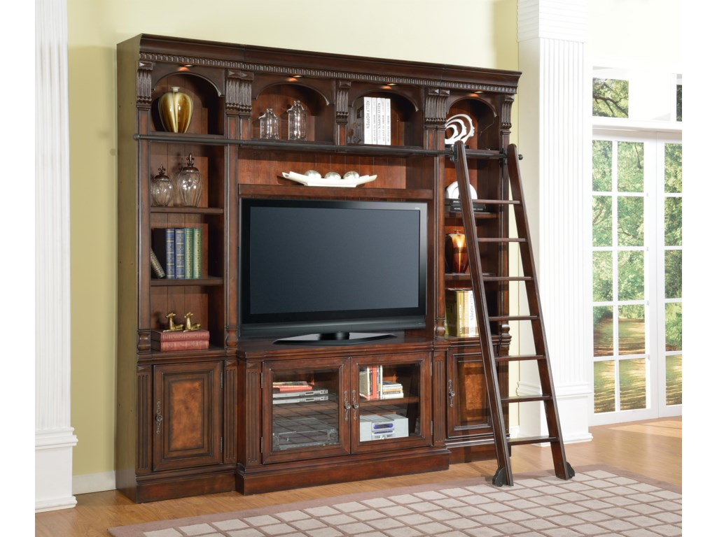 Shown with 50-Inch TV Console, Bookcase Bridge and Back Panel and 22-Inch Open Top Bookcases