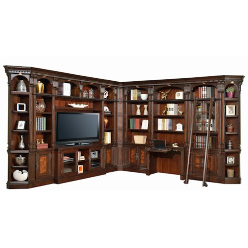 Parker House Corsica L-Shaped Library Wall with 60-Inch TV Console, Library Desk and Sliding Ladder