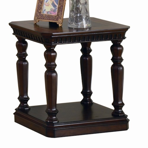 Parker House Corsica Chairside Table with Turned Pilaster Legs and Plinth Base