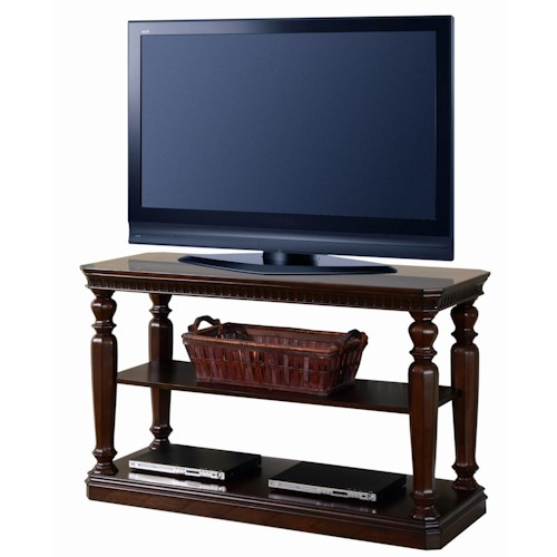 Parker House Corsica Sofa/TV Console with 1 Shelf, Turned Pilaster Legs and Plinth Base