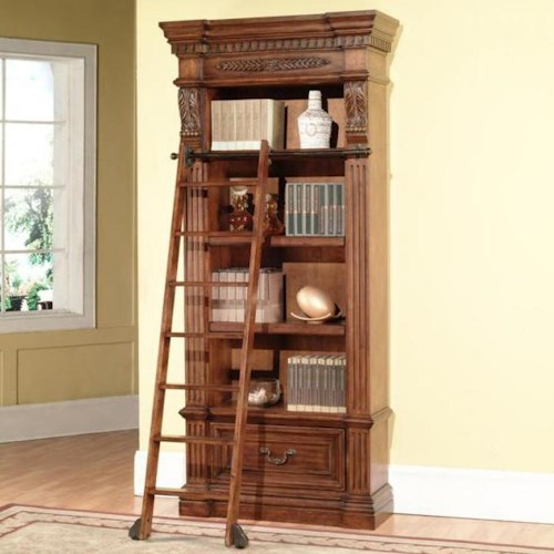 Parker House Granada Museum Bookcase with 1 Drawer and 4 Shelves and Museum Ladder