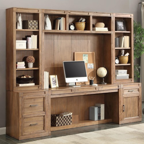 Parker House Hickory Creek 6 Piece Desk with Hutch and Printer Storage